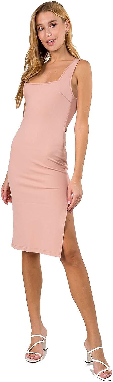 MIAMINE Women Square Neck Sleeveless Midi Dress Solid Knit High Slit Slim Bodycon Casual Basic Tank Party Dress