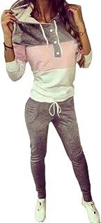 FSSE Women 2 Piece Outfits Color Blocked Hoodie Sweatshirt Pants Tracksuits Sweatsuits Sets