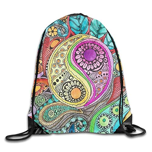 Lsjuee Hippie Art Drawstring Backpack Bags Adult Sport Gym School Travel String Storage Sackpack