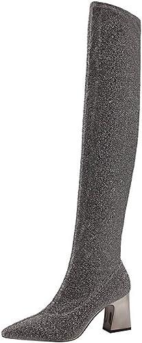 Olprkgdg Glänzende, Sexy Overknee-Stiefel Aus Metall Mit Spitzen Golddraht Aus Gold (Farbe   Silber, Größe   39)