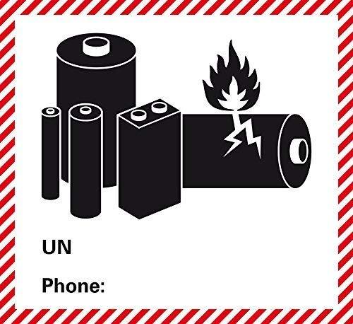etiketten voor gevaarlijke goederen - transportsticker - klasse UN 3480 / 3481 / 3090 / 3091 etc. - Lithium-ion batterijen - zonder telefoonnummer - zonder UN nr. - om zelf te bedrukken/opplakken - aantal naar keuze - 120 x 110 mm - zelfklevende papieren sticker 20 Stück