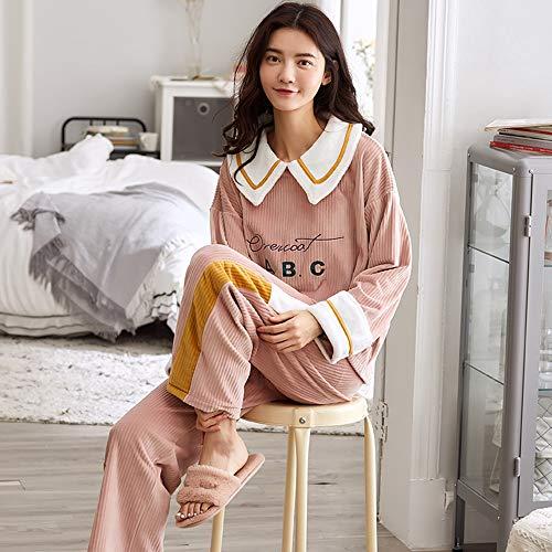 PMZZPLVDS Langarm Pullover Pyjama Anzug Lose Flannel Damen Home Service Herbst Und Winter,L