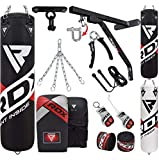 RDX Punching Bag for Boxing Training, Filled Heavy Bag Set with Punching Gloves, Chain, Wall Bracket, Great for Grappling, MMA, Kickboxing, Muay Thai, Karate, BJJ & Taekwondo, 14PC 4FT/5FT