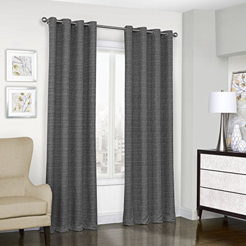 """Eclipse Blackout Curtains for Bedroom - Trevi 52"""" x 84"""" Thermal Insulated Single Panel Grommet Top Room Darkening Curtains for Living Room, Black"""