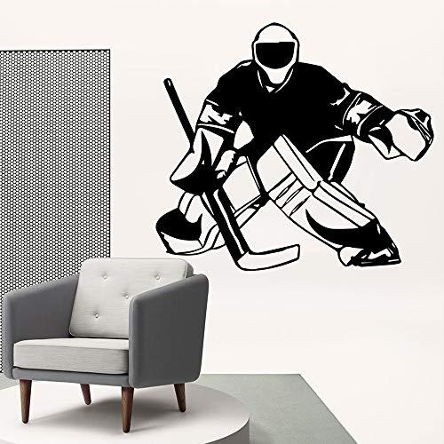 YuanMinglu New Hockey Vinyl Decals Kinder Aufkleber Schlafzimmer Dekoration Wohnzimmer Dekoration schwarz XL 58 cm X 64 cm