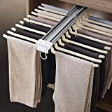 MYOYAY Pull Out Trousers Rack 22 Arms Steel Pull Out Pants Rack Pants Hanger Bar Clothes Organizers for Closet for Space Saving and Storage Maximum Load 33lbs Beige 23.4x18x5.7inch