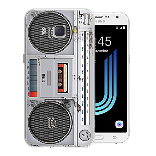 Pnakqil Funda Samsung Galaxy J5 2016, Silicona Transparente con Dibujos Diseño Slim Suave TPU Antigolpes Ultrafina de Protector Piel Case Cover Cárcasa Fundas para Samsung GalaxyJ5, Radio