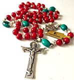 Handmade Turquoise and Red Coral and Oxen Bone Rosary Beads Cross Necklace Catholic Gifts