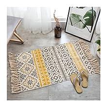 Alfombra pequeña multicolor, alfombra de cocina, lavable, para el interior del inodoro o la cama, de tejido plano, con flecos, estilo kim, bohemio, para el balcón, la cocina, 60 x 90 cm