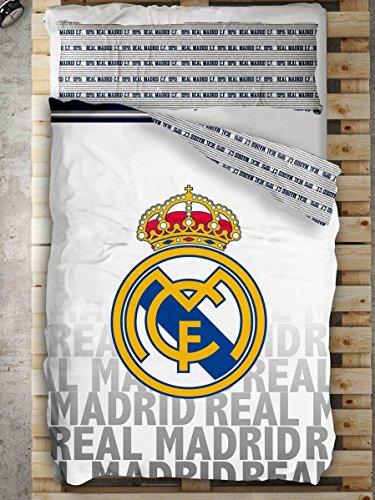 Style Real Madrid Juego Nórdico de Cama, Algodón-Poliéster, Blanco, 220x150x3 cm