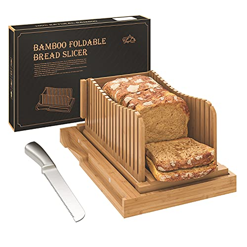 Bamboo Bread Slicer with Serrated Bread Knife, Adjustable Bread Slicer Guide with 3 Thickness Size, Foldable Compact Chopping Cutting Board with Crumb Tray, Great for Homemade Bread, Cakes, Bagels
