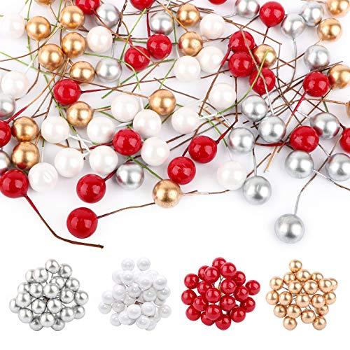 UFLF 80pcs Künstliche Weihnachtsbeeren Mini Holly Beeren Künstliche Stechpalmenbeeren mit Draht für Weihnachten Weihnachtsbaum Weihnachtskranz DIY Basteln Hochzeit Party Home Tischdeko
