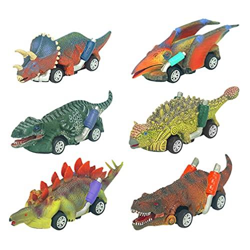 Toyvian 6St Dinosaur Leksak Dra Tillbaka Bilar Push Och Gå Fordon Mini Leksak Stora Däck Hjul Fordon Playset För Barn Småbarn