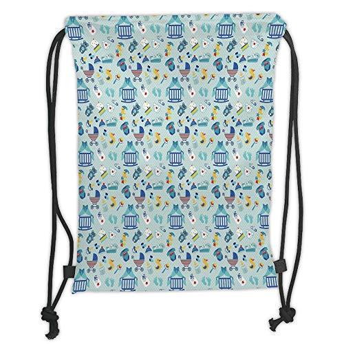 Fevthmii Drawstring Backpacks Bags,Baby,Newborn Sleep Crescent Moon Pacifier Nursery Star Polka Dots Image Decorative,Pale and Violet Blue Yellow Soft Satin,5 Liter Capacity,Adjustable STRI