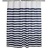 Zigzag Park Navy Style Blau Weiß gestreift Stoff Duschvorhang wasserdicht, Polyester-Mischgewebe, Horizontal Stripes, 70 by 70 inches