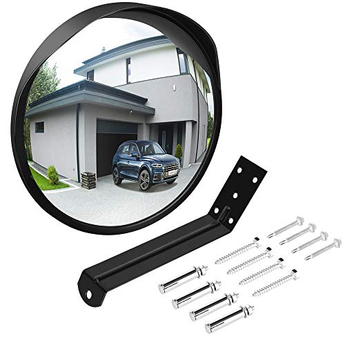 Ovsor Acrylic Convex Mirror for Garage and Traffic Driveway Park Assistant, 12 in Security Mirror with Adjustable Fixing Bracket Indoor and Outdoor