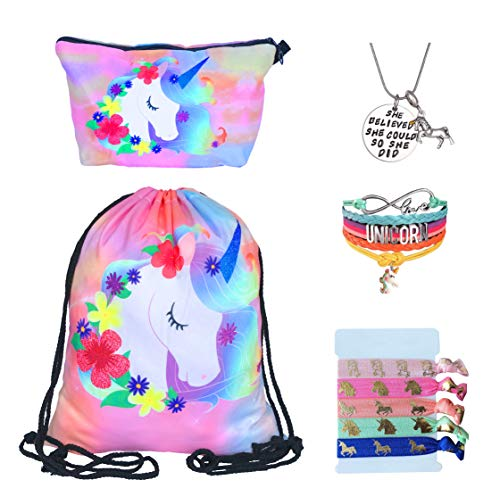 Unicorn Gifts for Girls - Unicorn Drawstring Backpack/Makeup Bag/Bracelet/Inspirational Necklace/Hair Ties (Flower Unicorn)