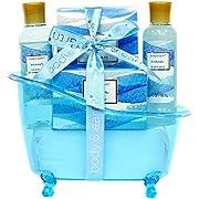 Spa Gift Baskets for Women, Body & Earth Bath Gift Set 5 Piece Ocean Scented Bath Set with Shower Gel, Bar Soap, Body Lotion, Bath Salts, Best Gift Idea for Women