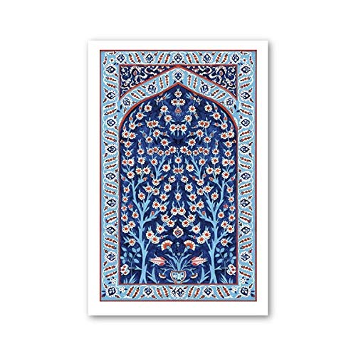 Nordische Wandkunst Bilder Leinwand Malerei türkische Fliese Baum des Lebens Aquarell Poster und Drucke für Home Decoration x70cmx1 Ungerahmt