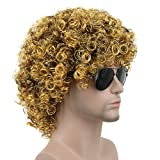 Karlery Mens Short Curly Black and Gold Rocker Wig California Halloween Cosplay Wig Anime Costume Party Wig