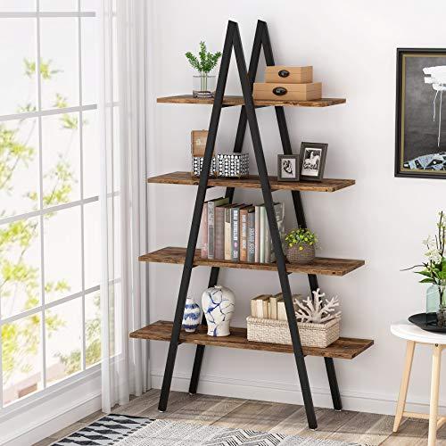 Tribesigns - Libreria a 4 ripiani con struttura a tubo in ferro, per casa, soggiorno, camera da letto, ufficio