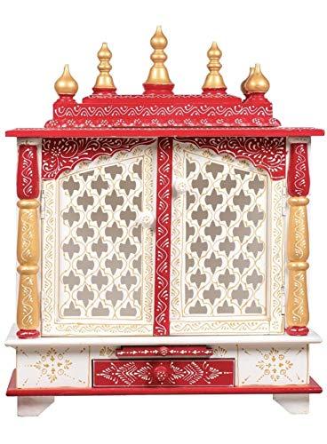 TAM Creatio Pooja Mandir de madera | Indian| | | | | | | Puja | | | | templo| | | Bhagwan| | soporte| | mandapam| | | pared | | colgar | decoración para el hogar en Estados Unidos (blanco rojo)