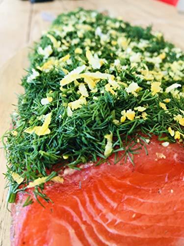 Lachs gebeizt (Graved) mit Dill und Zitrone 300g ✔ Mit frischen Kräutern und Bio Zitrusfrüchen in eigener Manufaktur hergestellt