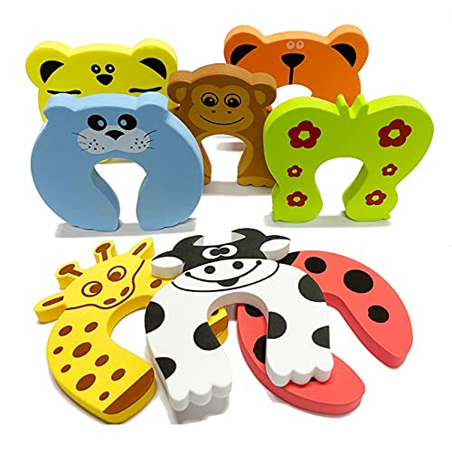 8Pcs Finger Pinch Guard, Cartoon Animal Proofing Doors Soft Foam Cushion Baby Finger Protector, Prevents Finger Pinch Injuries, Slamming Doors, and Child or Pet from Getting Locked in Room