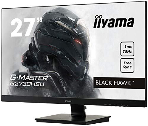 Iiyama GMaster Black Hawk G2530HSUB1 Moniteur Gaming 24,5″ Ful HD 1 ms Freesync 75 Hz, Noir & Amazon Basics Bras de Support Simple à Fixation pour écran Hauteur réglable Acier