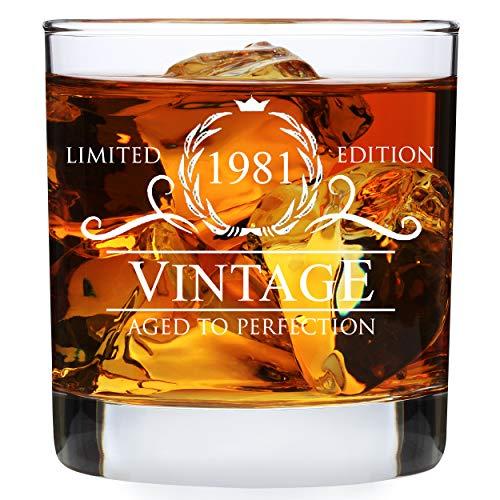 40th Birthday Gifts for Men - 1981 Birthday Gifts for Men 11 oz Whiskey Glass - 40 Birthday Gift Ideas for Men - 40 Year Old Gifts for Men Dad Husband Friend Him