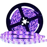 YGS-Tech 24 Watts UV Black Light LED Strip, 16.4FT/5M 3528 300LEDs 395nm-405nm Non-Waterpr...