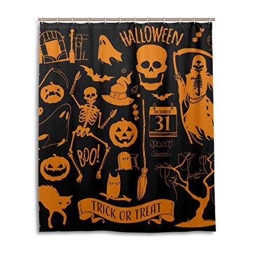 JSTEL Rideau de Douche décoratif 100% Polyester Motif Halloween 152 x 183 cm