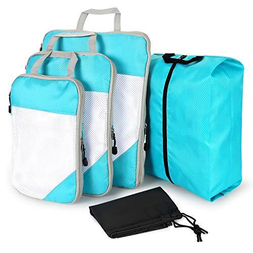超ポータブルビジネス旅行圧縮収納バッグ5つセット出張旅行仕上げ収納袋服スペースを節約衣類圧縮バッグ圧縮トラベルバッグシューズバッグランドリーバッグ (ブルー)