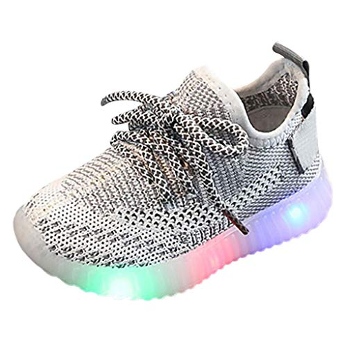 Baby Boys Girls Soft Knit Sneakers, Novelty LED Light Up Flashing Shoes Comfortable Footwear for Toddler/Little Kid(Black,2.5-3Years