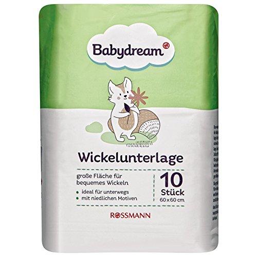 Babydream Wickelunterlage 1 x 10 Stück große Fläche für bequemes Wickeln, ideal für unterwegs, mit niedlichen Motiven, Maße: ca. 60/60 cm