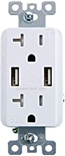 Armstrong 64424 125A 125 Volt 20 Amp Outlet With USB Ports-White