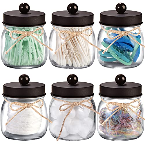 6 Pack Apothecary Jars Set,Mason Jar Decor Bathroom Vanity Storage Organizer Canister,Glass Qtip Holder Dispenser for Qtips,Cotton Swabs,Ball,bathoom Accessories - Stainless Steel Lid (Bronze)