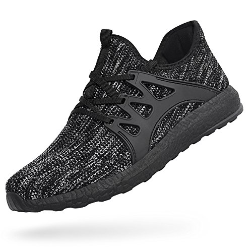 Feetmat Mens Non Slip Gym Sneakers Slip On Knit Mesh Athletic Workout Fashion Shoes Gray Black 13