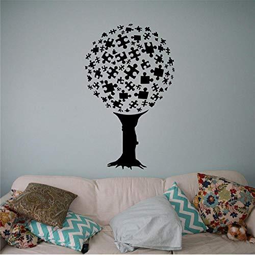 Muursticker, puzzel boom 58x65cm pvc diy art home decor voor kinderkamer woonkamer muurtattoo verwijderbare douane kantoor verjaardagscadeau