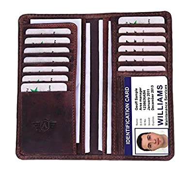 Men's RFID Protected Top Grain Leather Bifold Wallet Slim Masculine Design Long Wallet (Walnut)