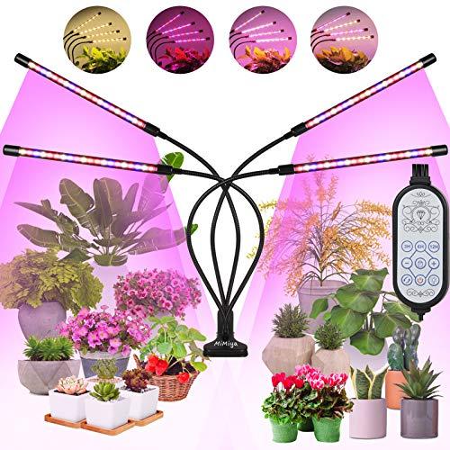MiMiya Pflanzenlampe LED, Pflanzenleuchte Vollspektrum Led 4 Heads 80LEDs Grow Lampe 360°Einstellbar Pflanzenlicht Pflanzenleuchte für Zimmerpflanzen Wachstumslampe mit Zeitschaltuhr