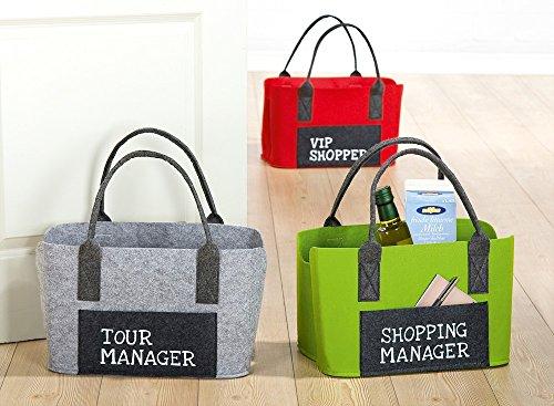 GILDE Filztasche B 40 x H 27 x T 20 cm Shoppingtasche mit Frontfach grau Tour Manager Trageriemen 24 x 20 cm