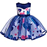 YGCLOTHES Vestido Nueva Niña con Estampado De Corazón, Niños Mariposa Flores Bordados Formales Vestidos De Fiesta De Boda, para Niñas De 3 A 10 Años,Azul,130
