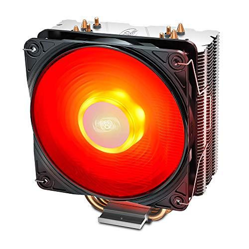 DeepCool Gammaxx 400 V2 Kühler 4 Heatpipes mit rotem LED-Lüfter PWM leise 120 mm für CPU Sockel Intel 1155 1151 1150 1366 und AMD AM4 AM3 AM2 AM3+ FM1 FM2 FM2+