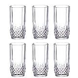Saaikee Beer Glass Whiskey Glass Juice Water Glass Tall Mug Drinking Glass Diamond Design Transparent 250 Ml (Set of 6)
