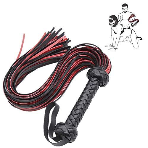 HUSHUS Caballos de la Pradera proporcionan Cuero y Gamuza tejen flagelos, Accesorios Cosplay (Rojo y Negro)