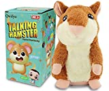 Qwifyu Talking Hamster, Interactive Stuffed Plush Animal Talking Toy Cute Sound Effects with Repeats Your Said Voice, Best Buddy for Kids Gift Age 3+ (Brown)