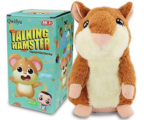 Qwifyu Sprechender Hamster, interaktives Plüschtier, sprechendes Spielzeug, niedliche Soundeffekte mit Wiederholung Ihrer gesagten Stimme, bester Freund für Kinder, Geschenk ab 3 Jahren (braun)