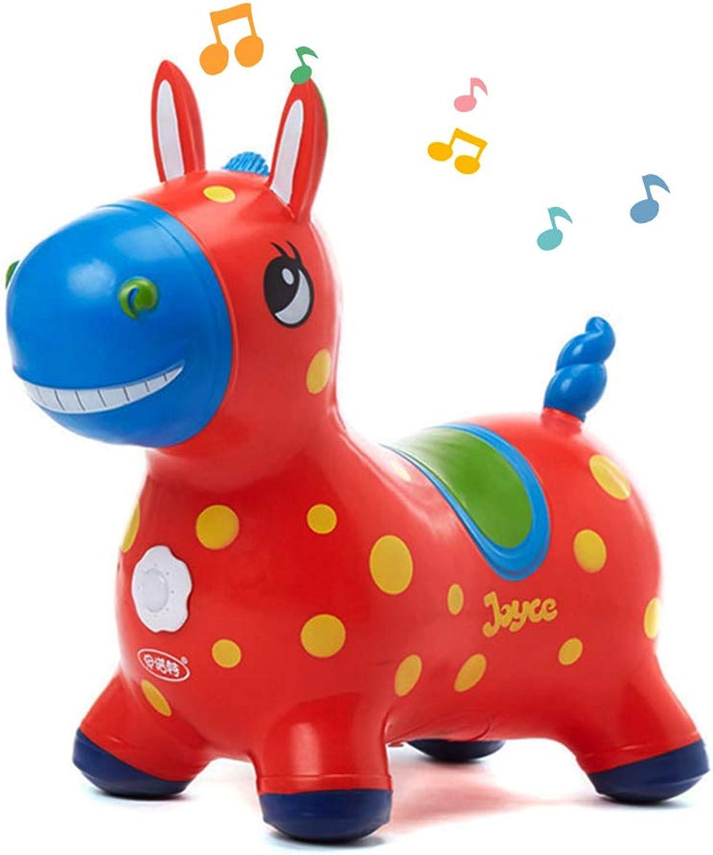Mr.LQ Horse Hopper Bouncy Jumping Horse Inflatable Horse Bouncer Ride on Bouncy Animal Hopper for Kids