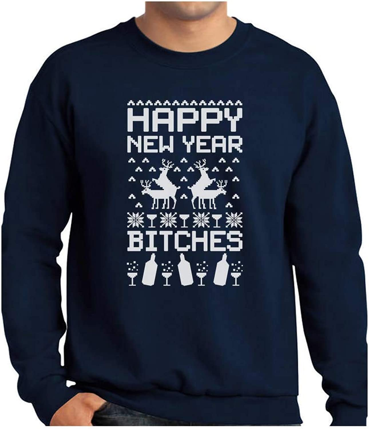 168df5889f5a0 TeeStars - Happy New Year Bitches Ugly Christmas Sweater Funny Funny Funny  Sweatshirt 34aacb